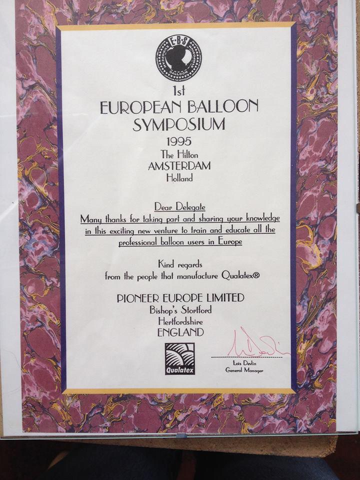 certificat pour le 1er EBS en Hollande en 1995